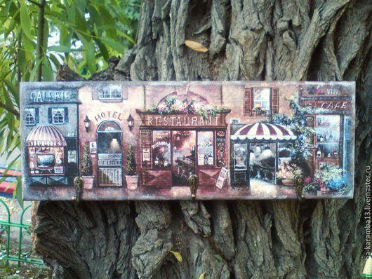 """Прихожая ручной работы. Ярмарка Мастеров - ручная работа. Купить ключница """"Улочки Парижа"""". Handmade. Коричневый, авторская работа, распечатка"""
