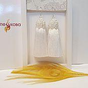 Свадебный салон handmade. Livemaster - original item White earrings with pearl caps. Handmade.