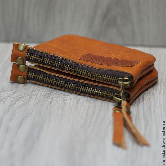 кожаная монетница, кожаный кошелек, кожаный кошелек для монет, Ирина Болдина.