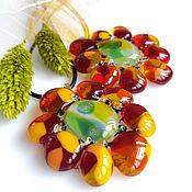 Украшения handmade. Livemaster - original item Pendant: from the Flower of art glass fusing jewelry. Handmade.
