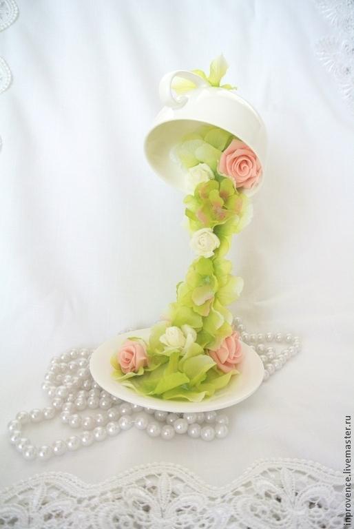 Интерьерная композиция перевернутая чашечка весенняя подарок к 8 марта