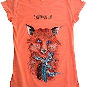 """Одежда ручной работы. Ярмарка Мастеров - ручная работа Футболка """"Folk Fox"""". Handmade."""