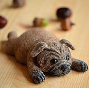Подарки к праздникам handmade. Livemaster - original item felt pug. Handmade.