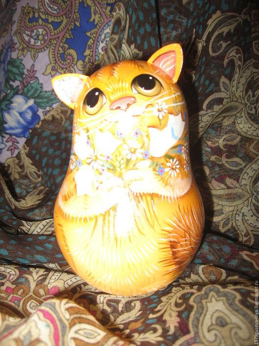 """Игрушки животные, ручной работы. Ярмарка Мастеров - ручная работа. Купить неваляшка деревянная со звоном """" Рыжик"""". Handmade."""