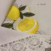 """Скатерти ручной работы. Ярмарка Мастеров - ручная работа Вышитая скатерть из льна """"Лимоны - 1"""". Handmade."""