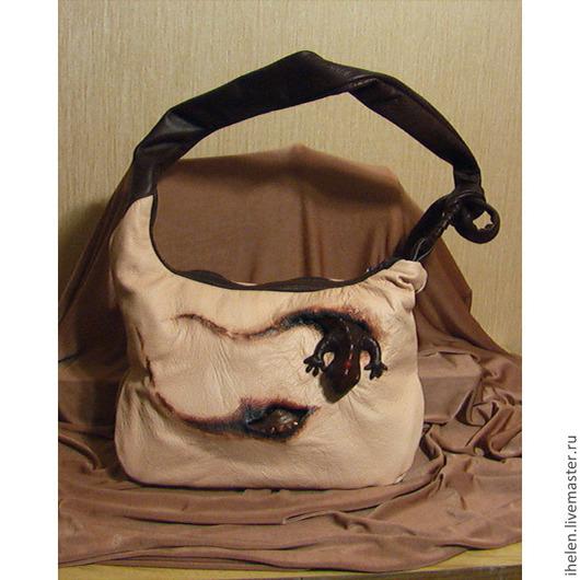 Женские сумки ручной работы. Ярмарка Мастеров - ручная работа. Купить Сумка с саламандрами. Handmade. Бежевый, саламандра, двухцветный, рептилии