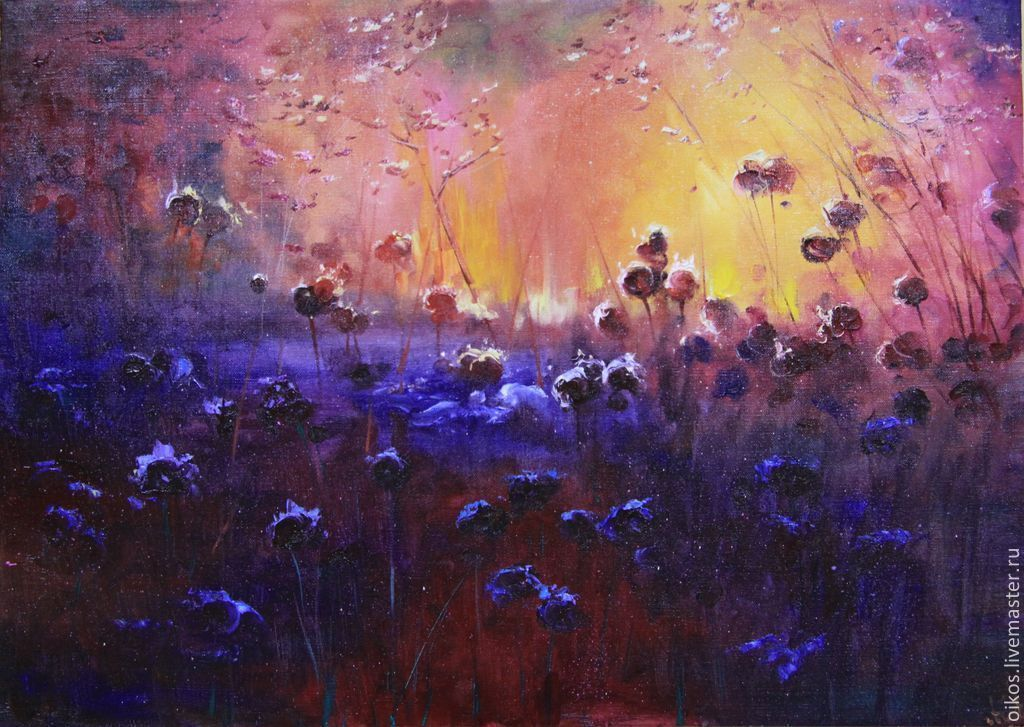Oil painting flowers Purple fairy box, Pictures, St. Petersburg,  Фото №1