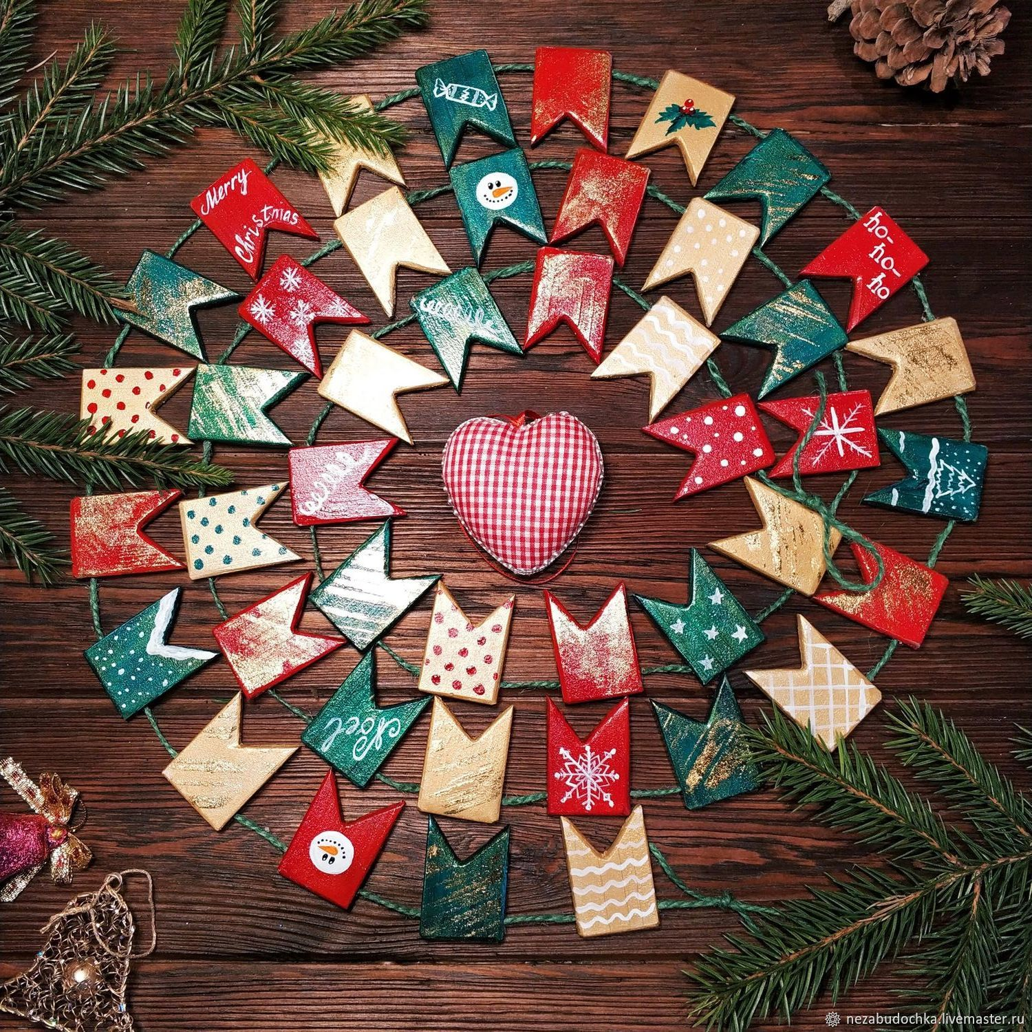 Christmas tree garland wooden flags, Decoration, St. Petersburg, Фото №1