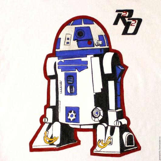 Футболки, майки ручной работы. Ярмарка Мастеров - ручная работа. Купить Футболка с росписью красками Дроид R2D2, рисунок на футболке кибер. Handmade.
