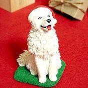Куклы и игрушки ручной работы. Ярмарка Мастеров - ручная работа Самоед лайка санта фигурка собаки новый год. Handmade.