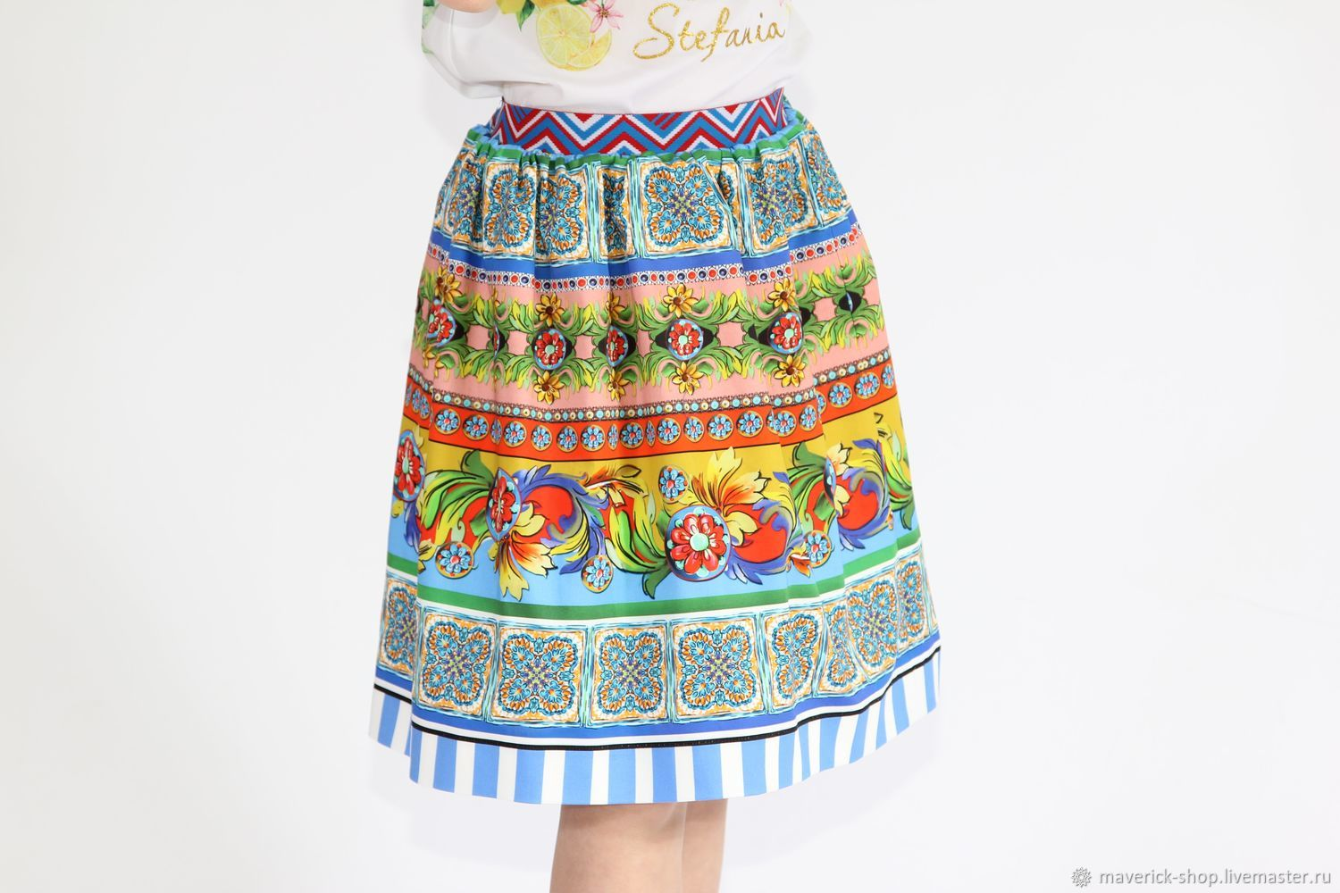 Multi-colored skirt for girls made of cotton, height 140-146, Child skirt, Moscow,  Фото №1