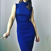 Одежда ручной работы. Ярмарка Мастеров - ручная работа Платье водолазка синий из мериноса без рукавов. Handmade.