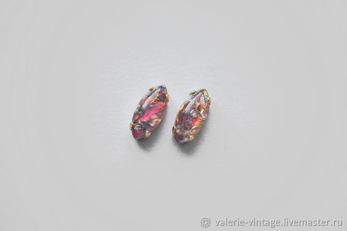 Vintage rhinestones 15h7 mm color Red fire opal, Rhinestones, Moscow,  Фото №1