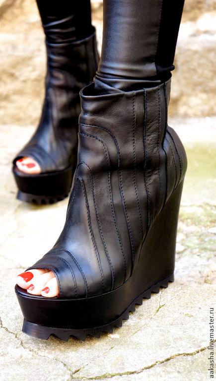 Обувь ручной работы. Ярмарка Мастеров - ручная работа. Купить Ботильоны из кожи Killer. Handmade. Черный, обувь на платформе, обувь