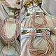 Модное колье ожерелье на шею из розового кварца и натурального жемчуга нарядное нежное украшение ручной работы
