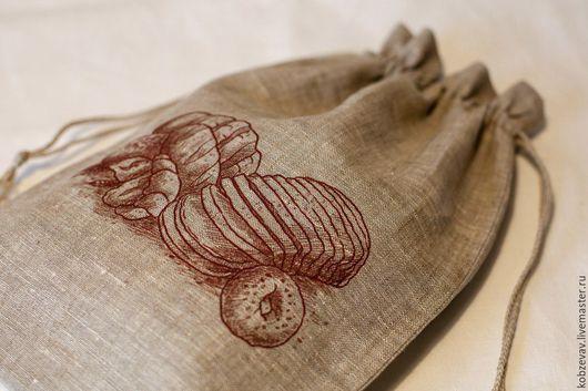 Кухня ручной работы. Ярмарка Мастеров - ручная работа. Купить Льняной мешочек для хлеба. Handmade. Серый, натуральные материалы