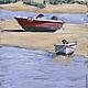 Пейзаж ручной работы. Ярмарка Мастеров - ручная работа. Купить Лодка №5. Handmade. Живопись, солнце, голубой, картина, песочный