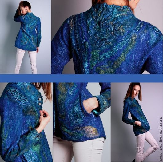 Пиджаки, жакеты ручной работы. Ярмарка Мастеров - ручная работа. Купить Жакет Таинственный Синий. Handmade. Синий, нунофелтинг