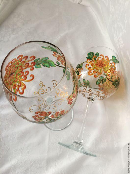 Бокалы, стаканы ручной работы. Ярмарка Мастеров - ручная работа. Купить Китайская хризантема. Бокал 750мл. Handmade. Праздник
