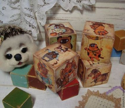 """Кукольный дом ручной работы. Ярмарка Мастеров - ручная работа Кубик """"Ребятам о зверятах"""". Handmade."""