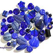 Материалы для творчества ручной работы. Ярмарка Мастеров - ручная работа Бусины чешские 20 гр Микс Dark blue 0510 стеклянные бусины Preciosa. Handmade.