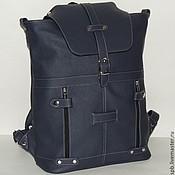 """Синий кожаный рюкзак """"Ритм"""""""