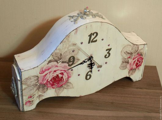 """Часы для дома ручной работы. Ярмарка Мастеров - ручная работа. Купить """"Розовые воспоминания"""". Handmade. Комбинированный, винтаж, прованс интерьер"""