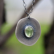 Украшения handmade. Livemaster - original item Kiwi pendant without chain (925 sterling silver, prenite). Handmade.