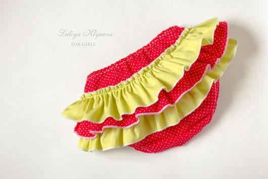 Одежда для девочек, ручной работы. Ярмарка Мастеров - ручная работа. Купить Трусики на памперс с оборками - блумеры красный и зеленый. Handmade.