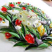 """Для дома и интерьера ручной работы. Ярмарка Мастеров - ручная работа Часы """"Цветочная фантазия"""", фьюзинг-стекло.. Handmade."""