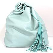 Сумки и аксессуары handmade. Livemaster - original item Mint leather Bag bag medium Bag string Bag t shirt shopper mint. Handmade.
