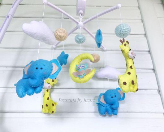 Детская ручной работы. Ярмарка Мастеров - ручная работа. Купить Мобиль, мобиль со слониками и жирафами, музыкальный мобиль. Handmade.