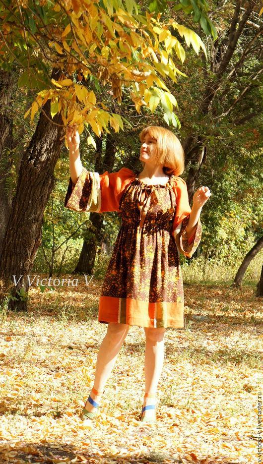 """Платья ручной работы. Ярмарка Мастеров - ручная работа. Купить Бохо-платье """"Апельсино-коричный глинтвейн"""". Handmade. Бохо"""