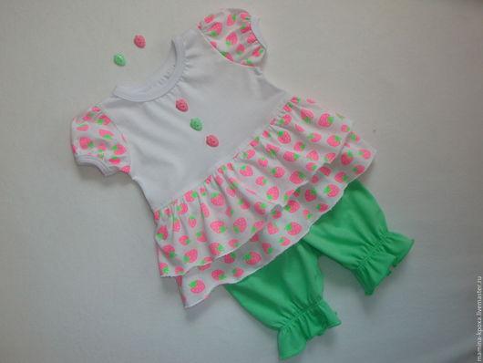 """Одежда для девочек, ручной работы. Ярмарка Мастеров - ручная работа. Купить Комплект для девочки """"Неоновая ягодка"""". Handmade. Комбинированный"""