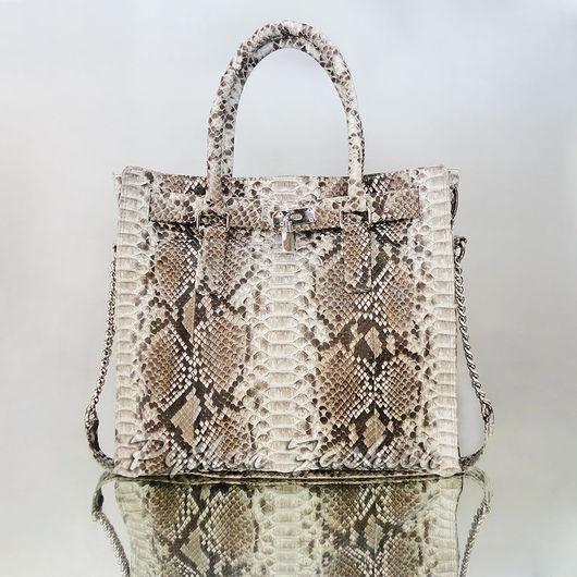 Сумка из кожи питона. Дизайнерская сумка из кожи питона. Красивая женская сумка из питона. Удобная сумка из кожи питона. Оригинальная питоновая сумка на заказ Модная сумка из кожи питона ручной работы