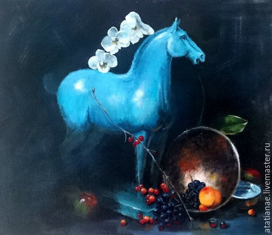 Натюрморт ручной работы. Ярмарка Мастеров - ручная работа. Купить Натюрморт со статуэткой коня. Handmade. Живопись, натюрморт, конь