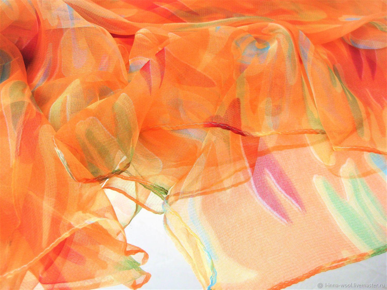 Оранжевое небо Платок шелк шифон натуральный 100 см на 100см, Валяние, Новосибирск, Фото №1