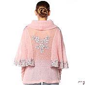 """Одежда ручной работы. Ярмарка Мастеров - ручная работа Необычный джемпер-туника """"Нежно-розовый цветок"""" с шелковым кружевом. Handmade."""