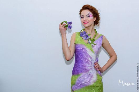 """Платья ручной работы. Ярмарка Мастеров - ручная работа. Купить Валяное платье """"Орхидея"""". Handmade. Сиреневый, войлочное платье"""