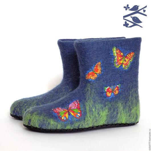 """Обувь ручной работы. Ярмарка Мастеров - ручная работа. Купить Домашние валенки """"Мотыльки"""". Handmade. Синий, оригинальный подарок"""