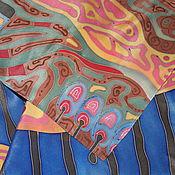"""Аксессуары ручной работы. Ярмарка Мастеров - ручная работа Шелковый платок """"Синее небо"""". Handmade."""