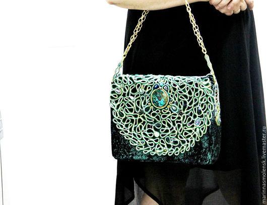 Женские сумки ручной работы. Ярмарка Мастеров - ручная работа. Купить вечерняя сумка  Изумрудный дождь. Handmade. Изумрудный цвет