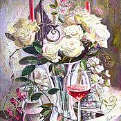 Картины ручной работы. Ярмарка Мастеров - ручная работа Картина с цветами Белые розы. Handmade.