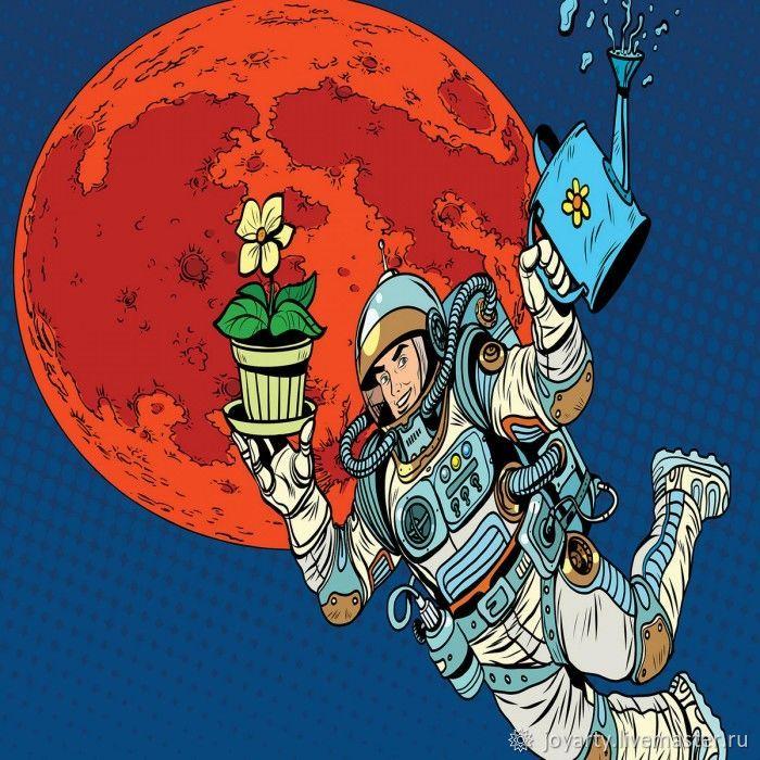 Чехол для чемодана «Космонавт с цветком» (S,M,L/XL)