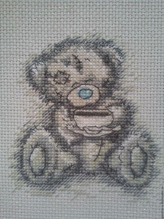 """Животные ручной работы. Ярмарка Мастеров - ручная работа. Купить Вышитая картина """"Мишка Тедди, time for tea"""". Handmade."""