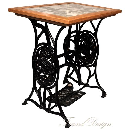 Мебель ручной работы. Ярмарка Мастеров - ручная работа. Купить Столик дубовый со стеклом на станине от швейной машины. Handmade.