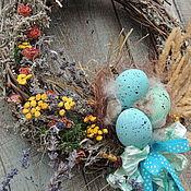 Подарки к праздникам ручной работы. Ярмарка Мастеров - ручная работа венок пасхальный  подвеска  Пасха в  бирюзе. Handmade.