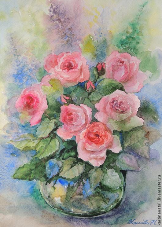 """Картины цветов ручной работы. Ярмарка Мастеров - ручная работа. Купить Картина акварелью """"Розовые розы"""". Handmade. Акварель, цветы"""