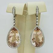 Украшения handmade. Livemaster - original item Earrings with diamonds and morganites 39,1 Ct of white gold 585. Handmade.