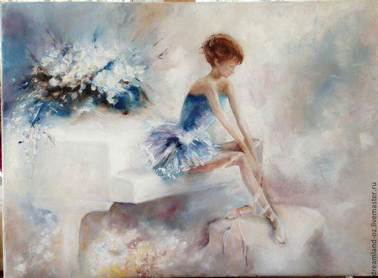 """Люди, ручной работы. Ярмарка Мастеров - ручная работа. Купить Картина маслом """"Адажио"""". Handmade. Голубой, балерина, цветы, розовый"""